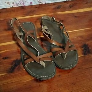Strappy brown sandals
